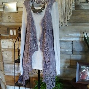 Simply Couture Boho Acid Wash Lavender Vest